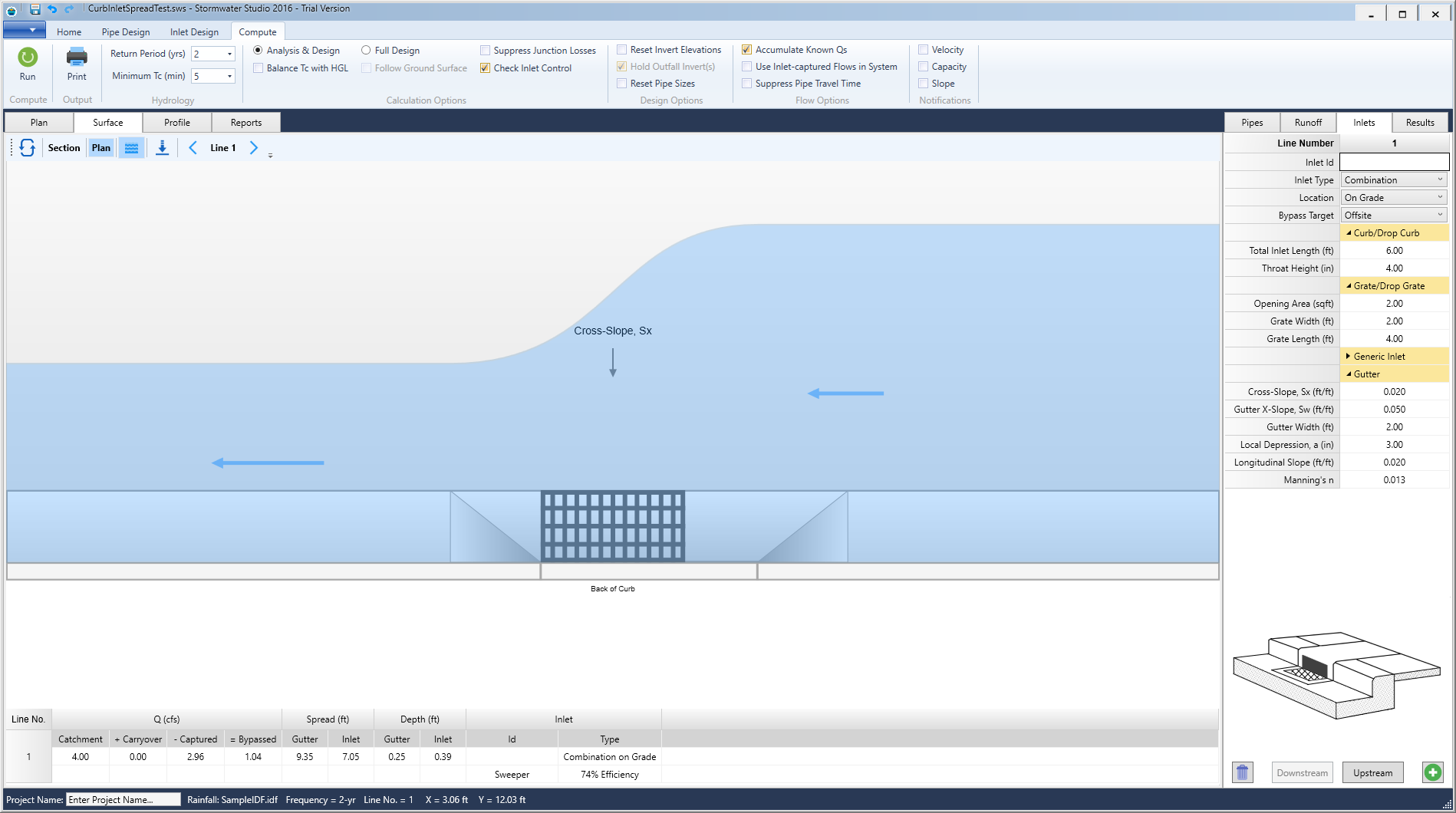 Storm Sewer Design Software Stormwater Modeling Plumbing Diagram Combination Inlet