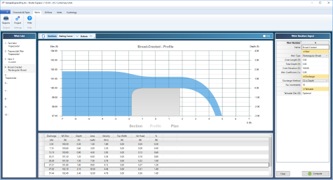 weir hydraulics software